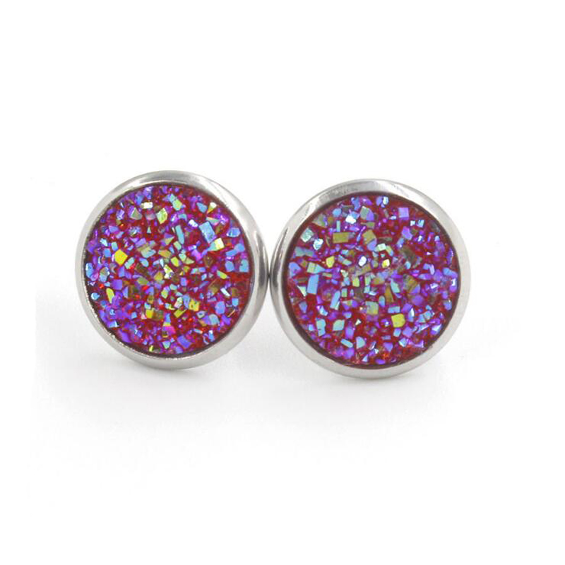 Hc7f7fbbd62794c43bb81052c78fdbb3do - Fnixtar 12mm 100% Stainless Steel Shinning Resin Stud Earring for Women Top Quality Fashion Earrings Party Ear Jewelry