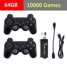 4k tv vídeo game console 2.4g duplo sem fio controlador embutido clássico retro 64gb 10000 jogos para ps1/gba/fc tv game console