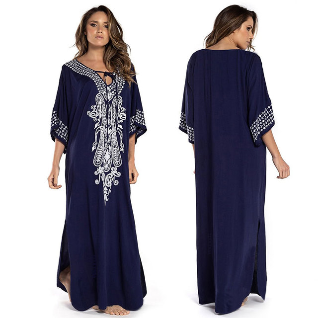 2021 Indie Folk Lace Up V-Neck Batwing Sleeve Summer Beach Dress  Tunic Women Beachwear kaftan Maxi Dress Robe Sarong N775 2