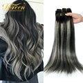 Doreen волосы 140 240 граммов машинное изготовление Remy балаяж серый зажим для наращивания волос настоящие натуральные человеческие волосы от 14 д...