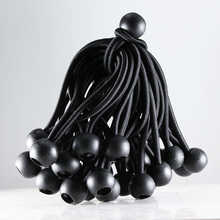 Ball Bungee 4 Inch Black Tie Down Cord 0.8 Inch Ball, 50-Piece, UV Resistant