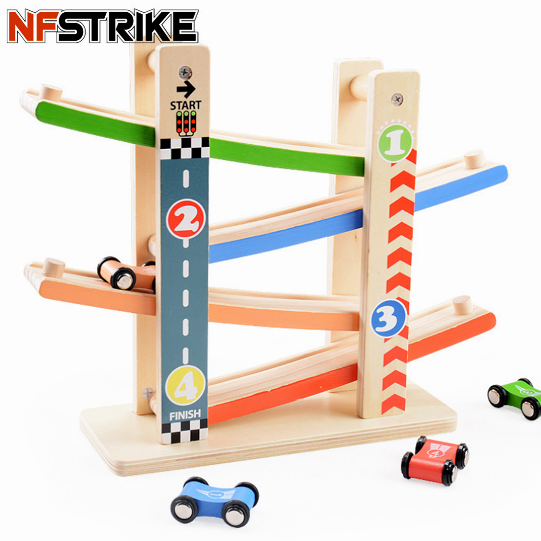 Toy Vehicles Wooden Urban Road Pattern Ramp Racer Track Inertial Sliding Track Car Playset With 4 Racers Toys For Kids Children