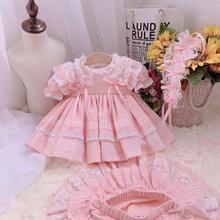 3 uds bebé niña Primavera Verano Plaid Turquía Vintage Español Lolita vestido de fiesta de princesa cumpleaños de boda Casual vestido