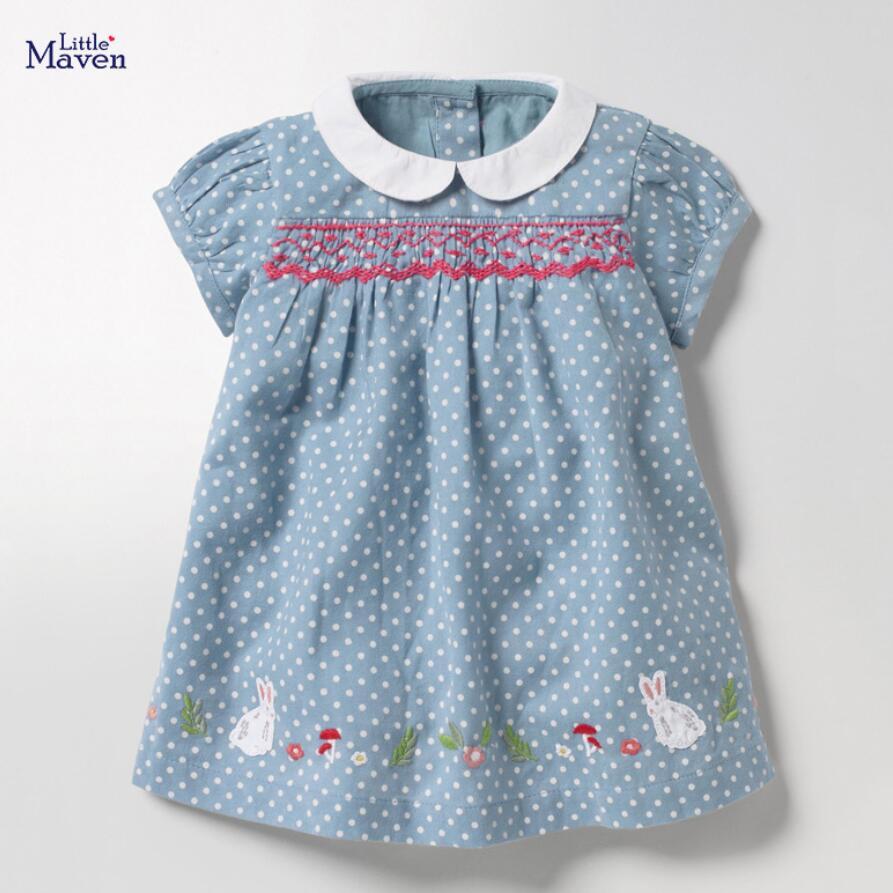 Little Maven 2021 New Summer Baby Girls Clothes Brand Dress Toddler Cotton Dot Bunny Flower Print Dresses for Kids 2-7 Years 2