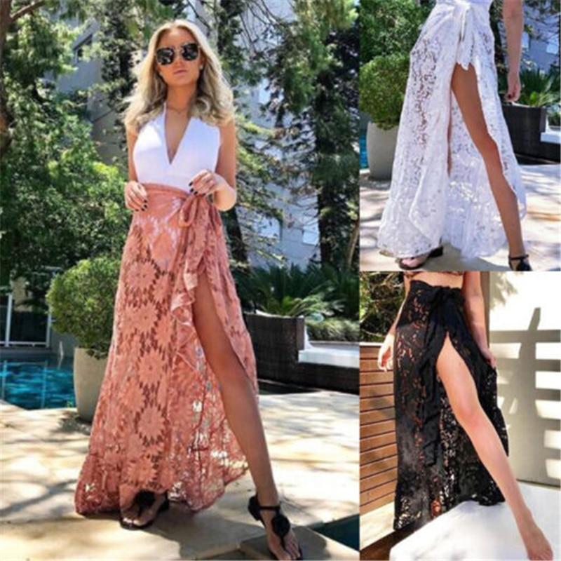 Fashion Women Bikini Cover Up Swimwear Lace Sheer Beach Maxi Wrap Skirt Sarong Skirt Pareo
