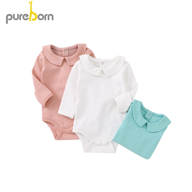 Image 2 - Pureborn Newborn Baby Bodysuit Peter Pan Collar Long Sleeve Jumpsuit Boys Girls Infant Outfits Solid Cotton Bapstim CostumeBodysuits   -