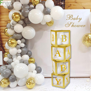 Gold Box Transparent Name Age Box Girl Boy Baby Shower Decorations Baby 1st 1 One Birthday Party Decor Gift Babyshower Supplies
