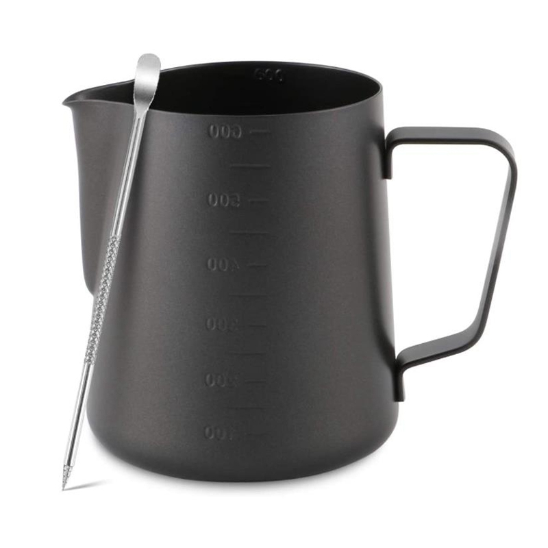 Stainless Steel Milk Frothing Pitcher for Macchiato Cappuccino Latte Art,Including Latte Art Pen,Milk Frother,600ML