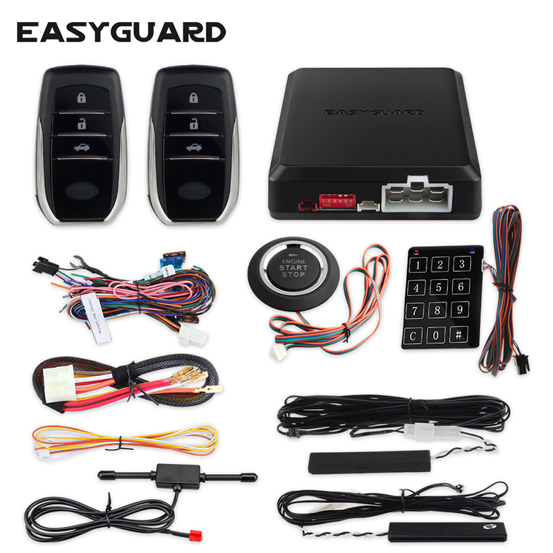 EASYGUARD Pke Keyless Entry System Start Stop Remote Central Locking Engine Start Stop Car Alarm System Push Start Remote