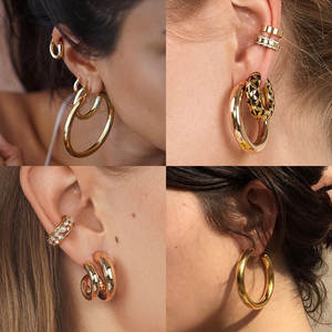 Drop-Earrings Geometric Fashion Jewelry Dangle Vintage Women Metal for Statement Pendant
