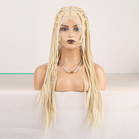 RONGDUOYI Long Blonde Hair Synthetic Wigs for Black Women Heat Resistant Fiber Braided Box Braids Wig Blond Hair Full Lace Wig