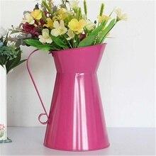 20cm Vintage flor estilo shabby chic jarrón lata jarra Metal boda decoración del hogar