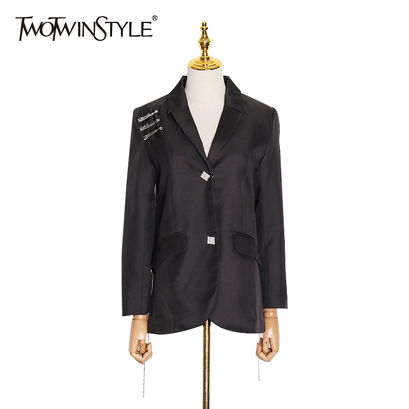 TWOTWINSTYLE Spring Patchwork Tassel Pin Blazer For Women Notched Long Sleeve Slim Elegant Trench Coats Female Fashion New 2020