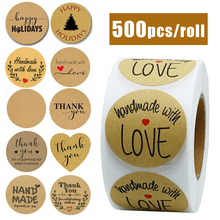 500pcs/roll Handmade Sticker Thank You Stickers Kraft Paper Label Coffee Round Stationery  Food Deco for Envelope Gift