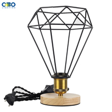 Vintage Table Lamp Single Iron Lampshade With Switch E27 Edison Lamp Base Dimming 1.8 m Wire Wood Table Lamp недорого