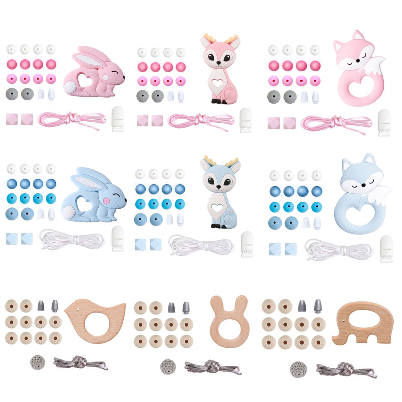 Bite Bites 1Set Silicone Bead 12mm Wooden Rodent Fox Rabbit Elk DIY Accessories Nursing Necklace Pacifier Chain Baby Teether Toy