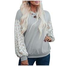Jaycosin moda camisa de ocio mujeres manga larga cómodo suave salvaje Vintage leopardo rayas bolsillo elegante suéter tapas 25