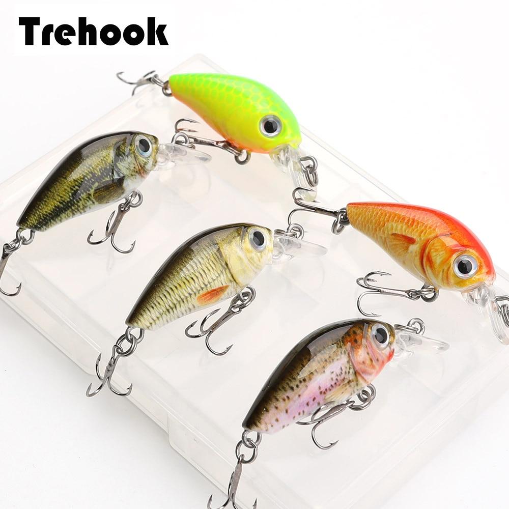 TREHOOK Mini Crankbait 5pcs Fishing Lures 3.6cm 3.6g Topwater Artificial Hard Bait Minnow Swimbait Wobblers Carp Fishing Lure Set