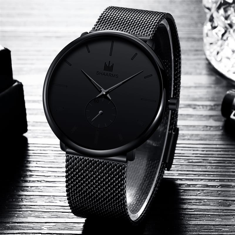 SHAARMS Black Men Analog Watch Minimalism Dial Mesh Band Stainless Steel Quartz Luxury Watch Fashion Business Watches Hombre