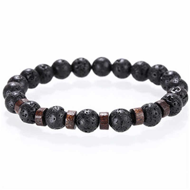 Homens pulseira natural pedra da lua grânulo buda tibetano pulseira chakra difusor pulseiras masculino jóias presentes