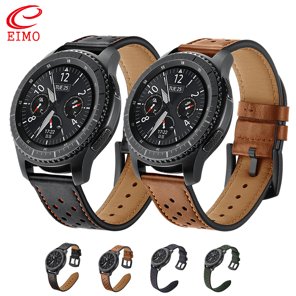 Gear S3 Frontier strap for Samsung Galaxy watch 46mm huawei watch GT strap 22mm watch band Leather bracelet Amazfit Stratos belt in Watchbands from Watches