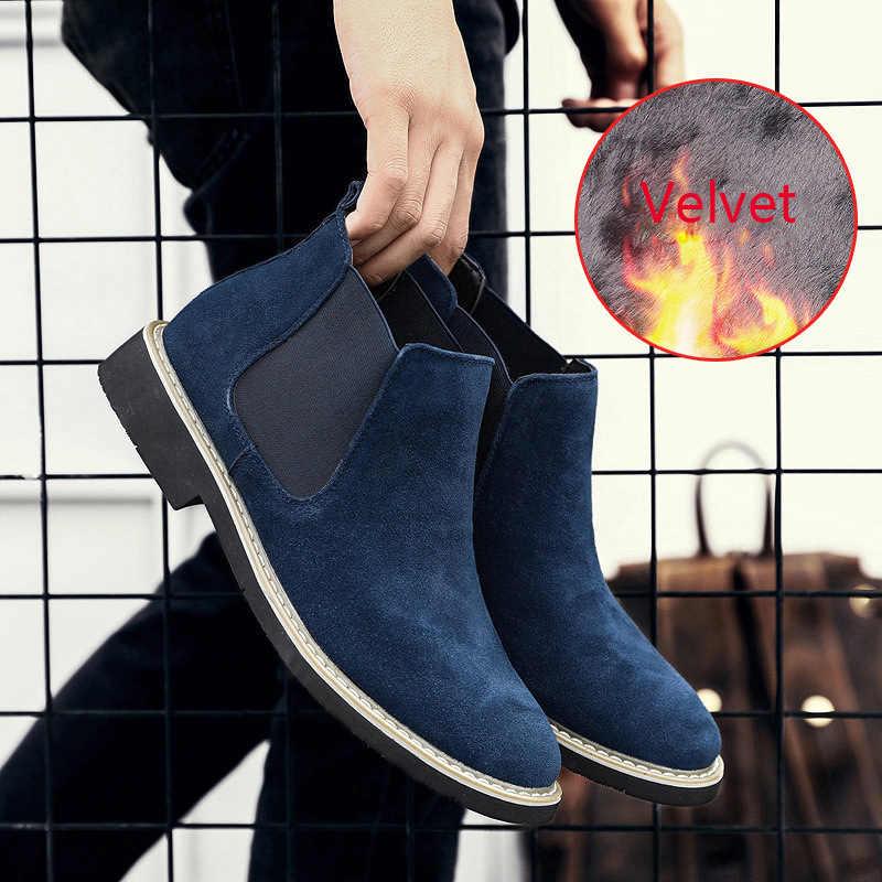 Mode Flut Stiefel Männer Große Größe Herren Schuhe Casual Spitz Chelsea Stiefel Männer Echtes Leder Wildleder Slip auf Große design