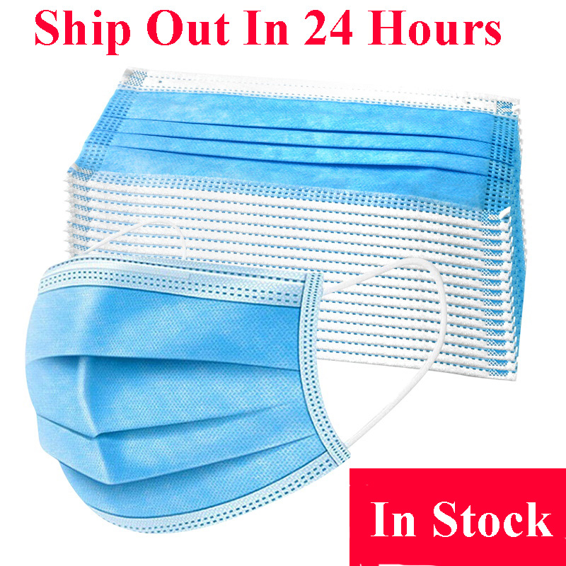 100pcs 3 Layer Disposable Masks Protective Face Mouth Masks Anti Influenza Bacterial Facial Dust-Proof Safety Masks Anti-virus