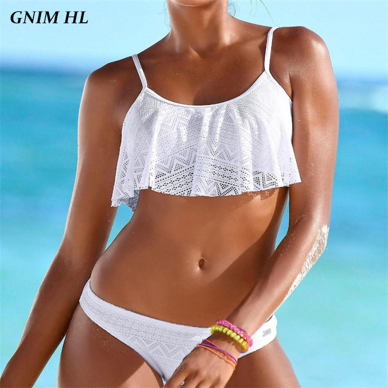 GNIM Sexy Brazilian Swimsuit Female Solid Mesh Bikini Swimwear Women New 2019 Swimming Suit Two Pieces Ruffle Bikinis Set White