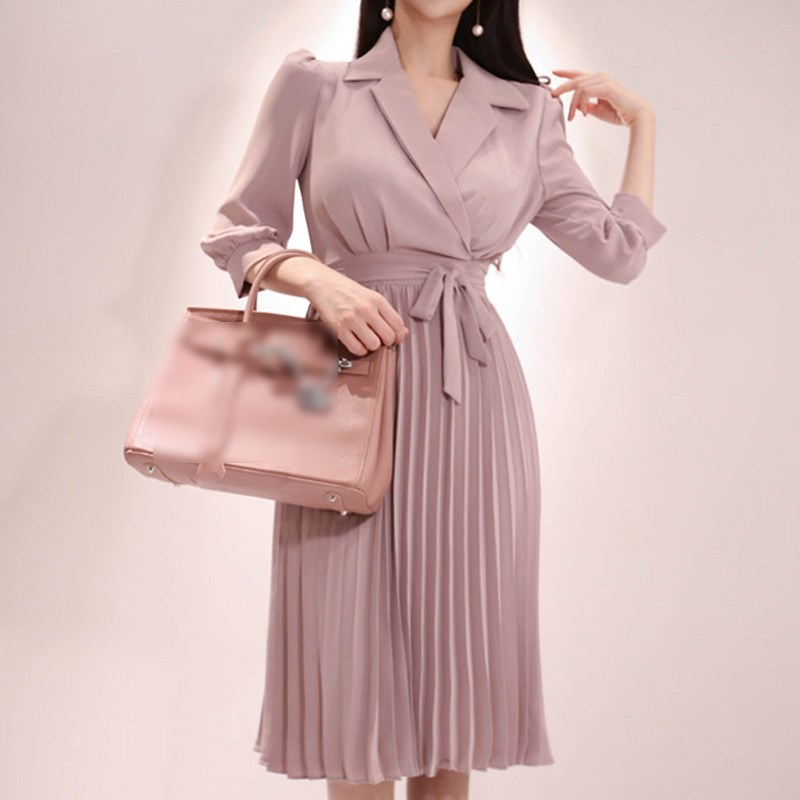 Fall Women Work With Belt Bowknot Office Dress 3/4 Length Sleeve Pleated Dress Notched Neck Fashion Wear Business-in Dresses from Women's Clothing on AliExpress - 11.11_Double 11_Singles' Day 1