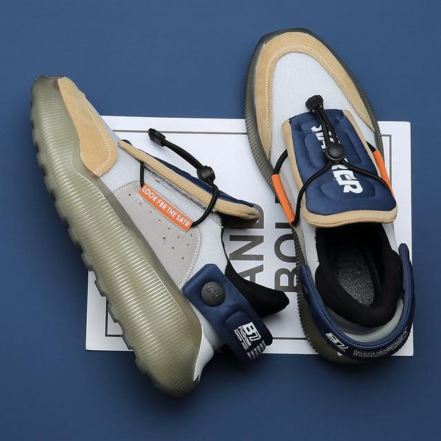 Zapatillas de deporte informales antideslizantes para hombre, calzado de Tenis con plataforma de cuero de malla transpirable, novedad de verano de 2021 2