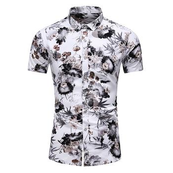 Summer New Arrival Shirts Men 2020 Fashion Print Short Sleeve Hawaiian Shirt Male Casual Flower Slim Fit Beach Shirts Plus M-7XL 2