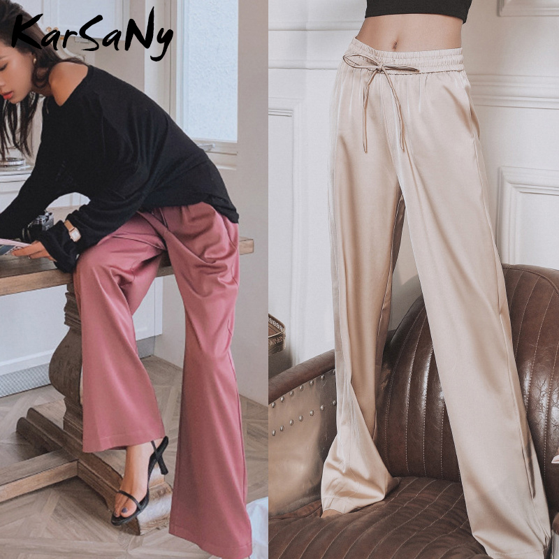 Summer Women's Wide Leg Pants High Waist Female Trousers Elegant Casual Lace Up Drape Soft Summer Loose Pants For Women White
