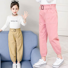 Girls Cotton High Waist Trousers 2019 New Arrival Casual Soft Long Pants Khaki Pink for Little Girl 4-13Y Teenage Girls Clothes стоимость