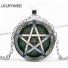 LKLRYWBD / Popular Round Five-pointed Star Pattern Glass Necklace Jewelry