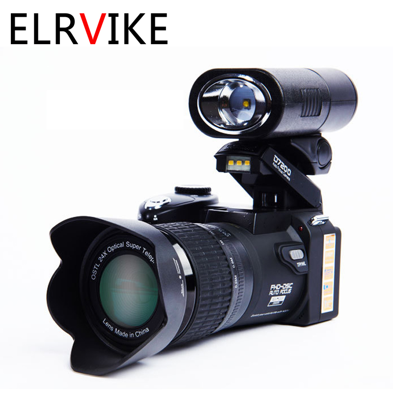 ELRVIKE 2021 Digital Camera HD POLO D7200 33Million Pixel Auto Focus Professional SLR Video Camera 24X Optical Zoom Three Lens