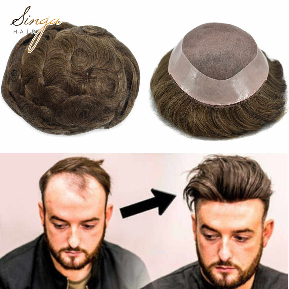 Natural Mens Wig Comfortable Durable Hair System Replacement Medium Density Indian Hairs Double Knot Easy Wear Toupee Men Wigs Toupees Aliexpress