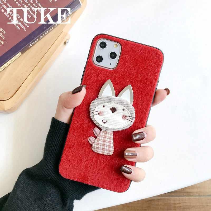 Güzel kedi kürklü sıcak telefonu kılıfları için Vivo Z5X sert peluş saç kürk kapak Coque