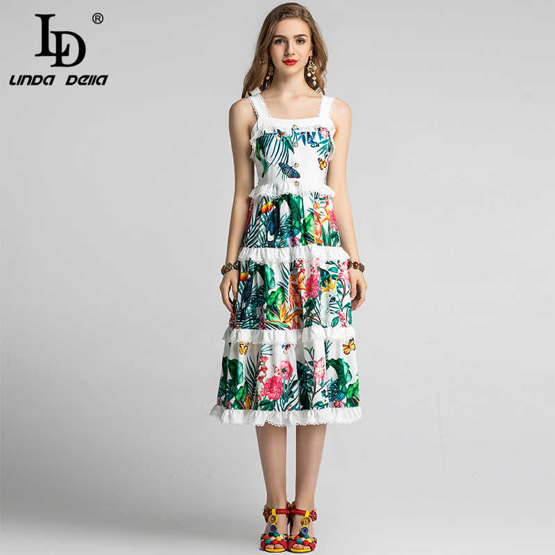 Ld Linda Della Zomer Jurk Vrouwen Spaghetti Band Eelgatn Tiered Lace Ruches Bloem Bloemenprint Holiday Party Casual Dress