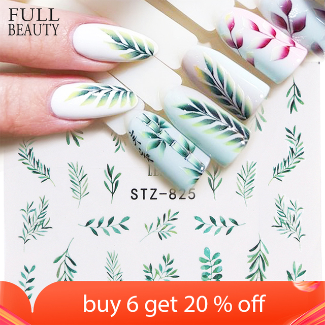 1pcs Water Nail Decal and Sticker Flower Leaf Tree Green Simple Winter Slider for Manicure Nail Art Watermark Tips CHSTZ824 844
