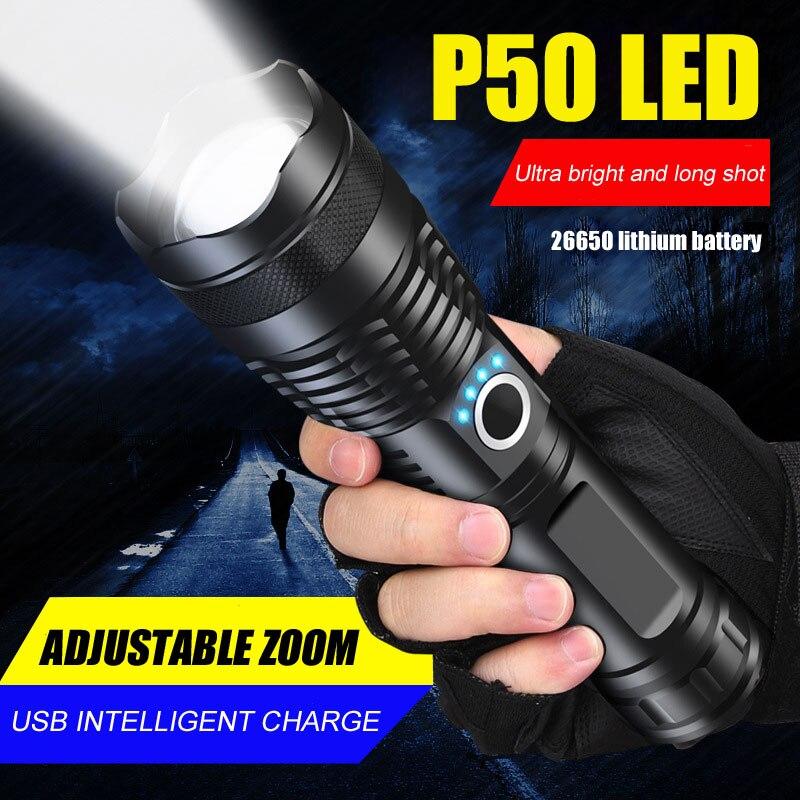 Мощный светодиодный фонарик P50 с зарядкой от USB, миниатюрный тактический полицейский умный водонепроницаемый фонарь с зумом для охоты