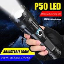 Poderoso led p50 usb recarregável mini ao ar livre tático caça lanterna polícia inteligente à prova dzoom água tocha zoom
