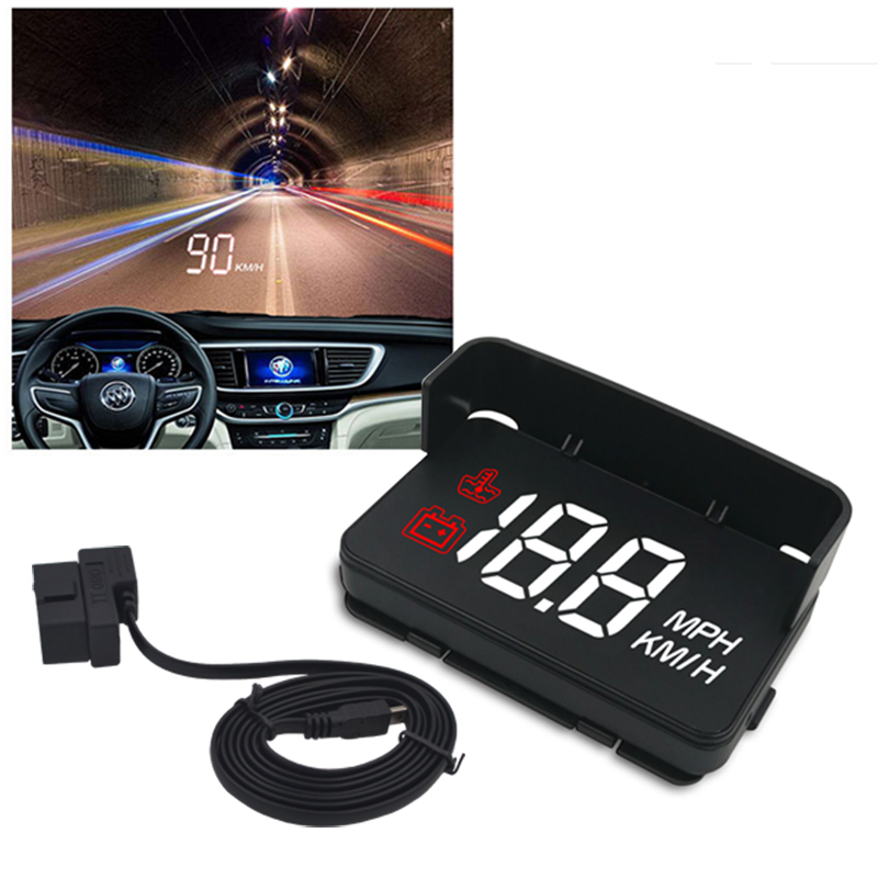 A100 HUD Head Up Display Car OBD2 II EUOBD Overspeed Warning System Auto Electronic Voltage Alarm Windshield Projector H6