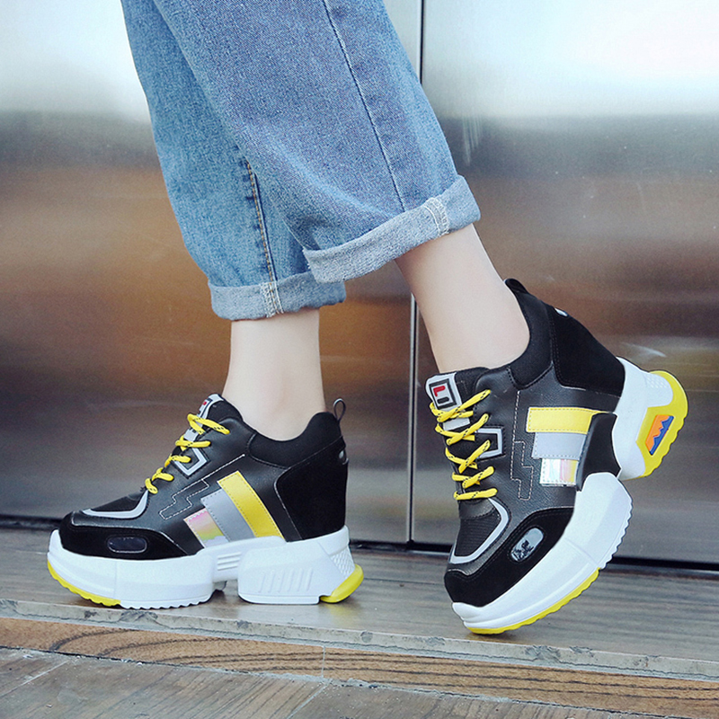 Rimocy Mixed Color Height Increasing Sneakers Women Breathable Mesh Wedge Platform Shoes Woman Casual Autumn Winter Footwear