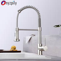 Spring Brushed Kitchen Sink Faucet Pull Down Sprayer Nozzle Single Handle Faucet