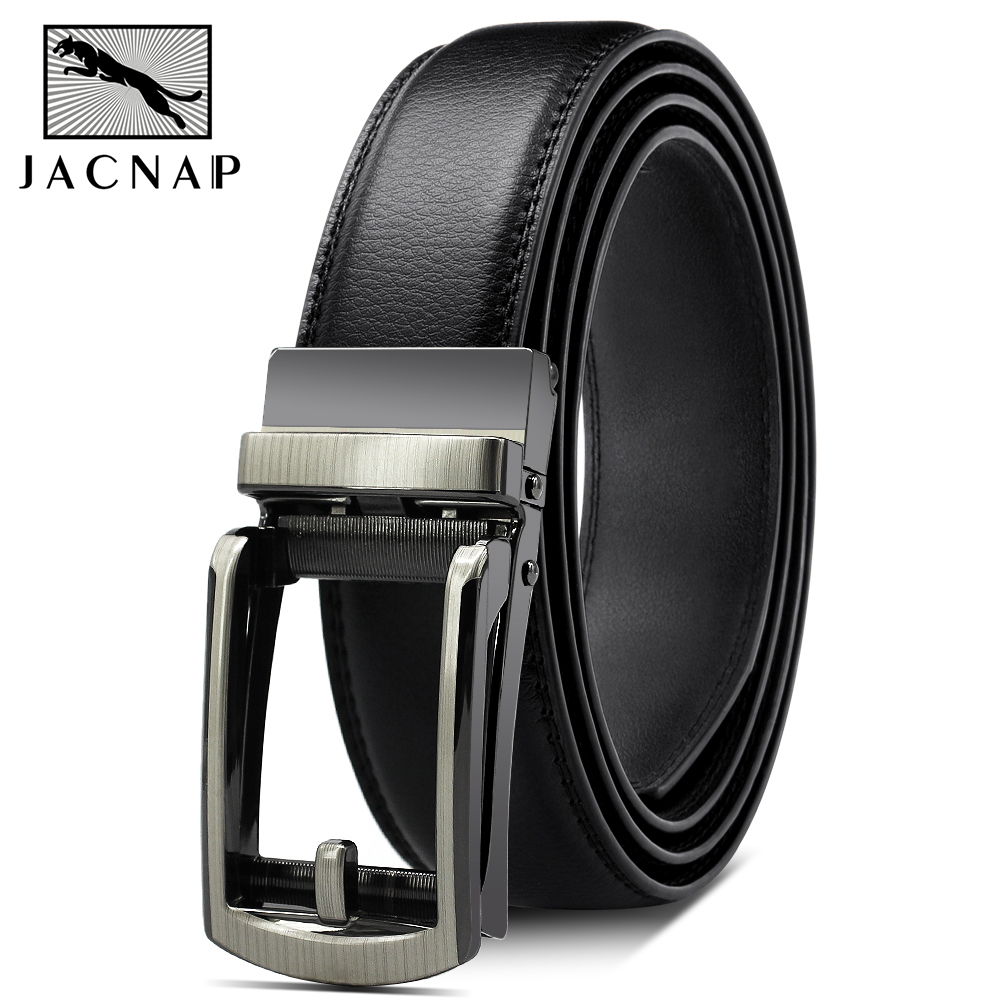 JACNAIP Genuine Luxury Leather Men Belt Automatic Alloy Buckle Male Belt High Quality Cowskin Leather Strap, Luxury Men Belts