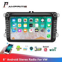 AMPrime Android Double Din GPS Car Stereo Radio 8''Touch Screen Car MP5 Player with Bluetooth GPS FM Radio Receiver For VW Skoda