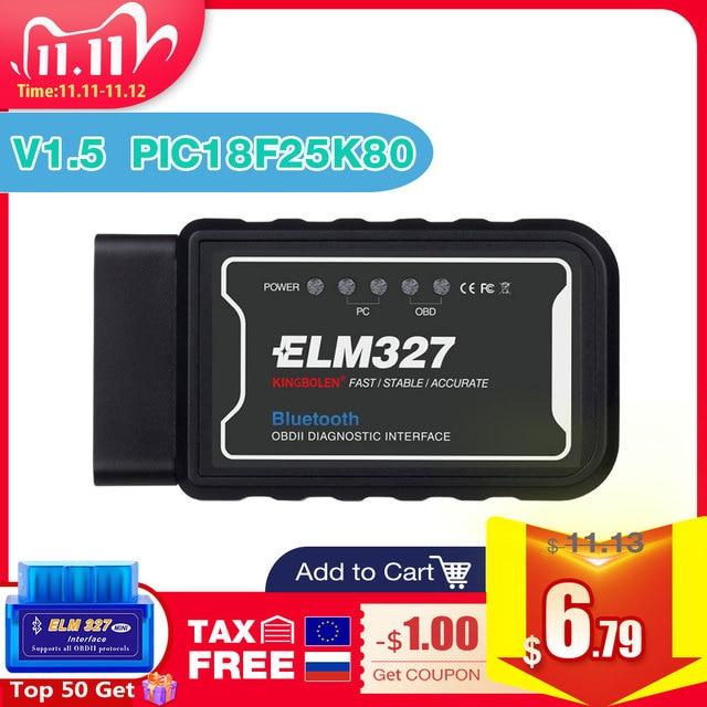 ELM327 lector de código OBD II para coche, herramienta de diagnóstico obd2, V1.5, Wifi, Bluetooth, PIC18F25K80, para Android/IOS, Elm 327
