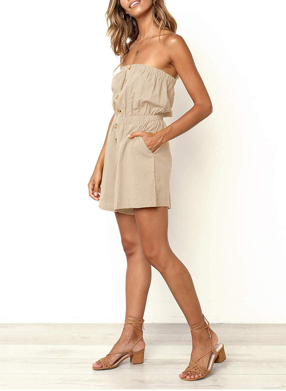 15 Pieces Women's Summer Solid Color  Down Elastic Waist Short Romper2019 Silk  Jumpsuits  Cotton
