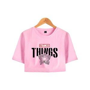 Женская футболка с круглым вырезом Stranger Things, летняя повседневная хлопковая Футболка с принтом пупка в стиле Харадзюку, 2019