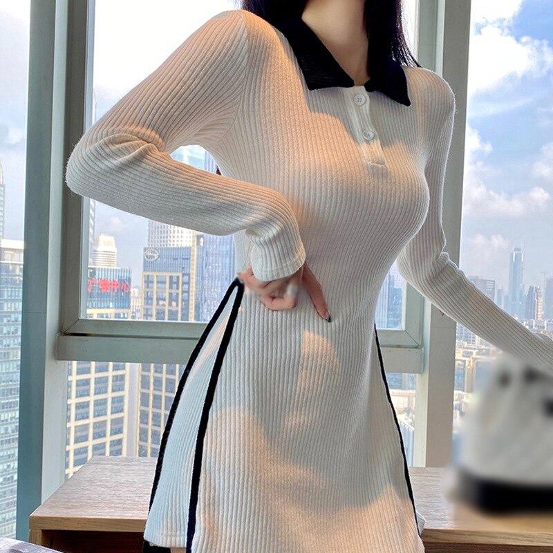 Корейское модное платье с лацканами женские повседневные платья